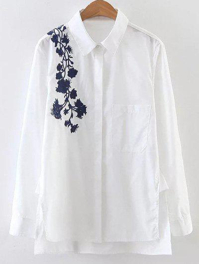 Side Slit Floral Embroidered Shirt - WHITE S