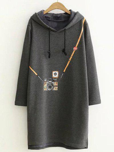 Hooded Imprimer Robe Taille Plus - Gris XL