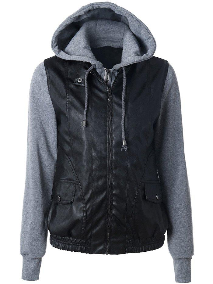 Zippered Faux Leather Insert JacketWomen<br><br><br>Size: XL<br>Color: BLACK
