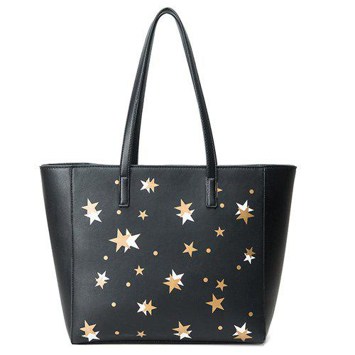 Colour Block Polka Dot Shoulder Bag - BLACK