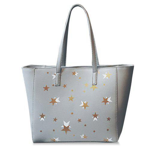 Colour Block Polka Dot Shoulder Bag - LIGHT GRAY
