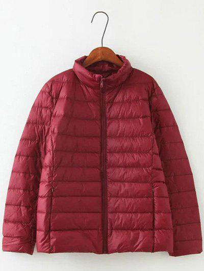 Long Sleeve Padded Down Jacket - WINE RED XL