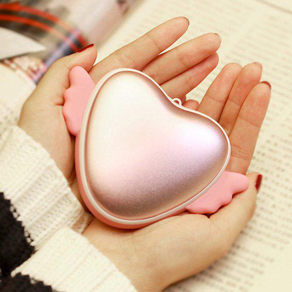 Love Heart Mini Shape main Warmer USB Mobile Power - ROSE PÂLE