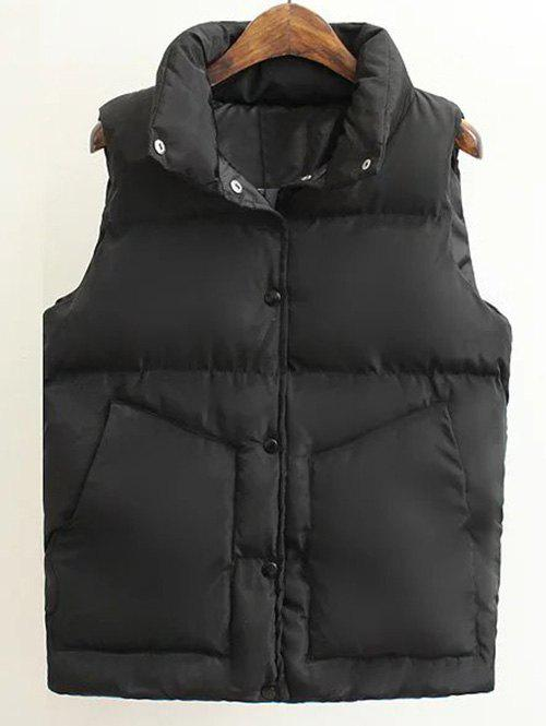Padded Buttoned Waistcoat - BLACK S