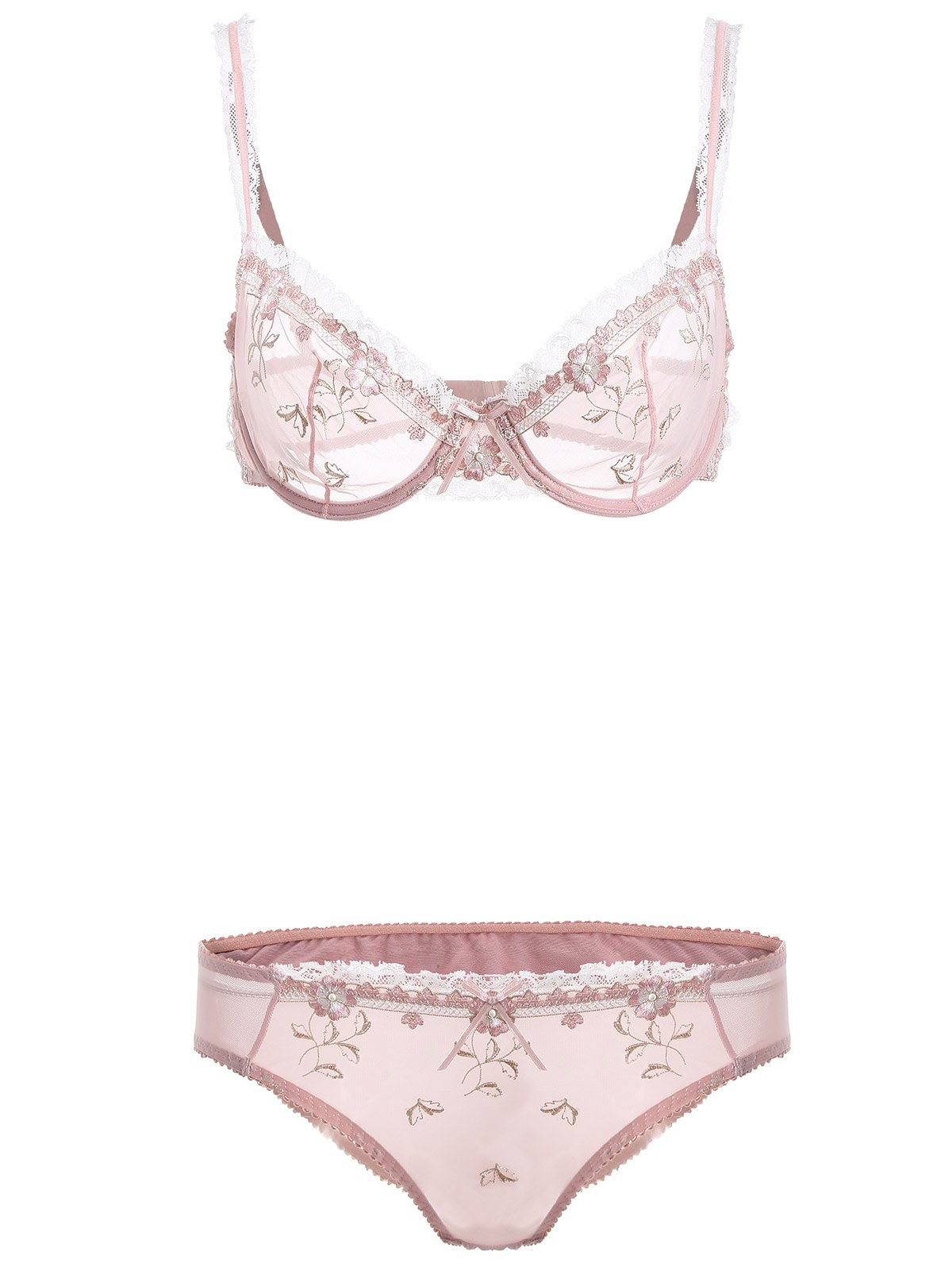 Spliced ​​dentelle See-Through bowknot Bra Set - ROSE PÂLE 75A