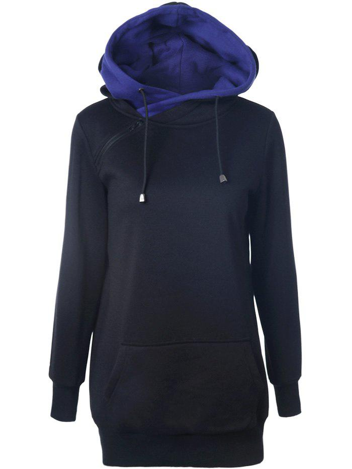Double-Hood Zippered Pocket Hoodie - BLACK XL
