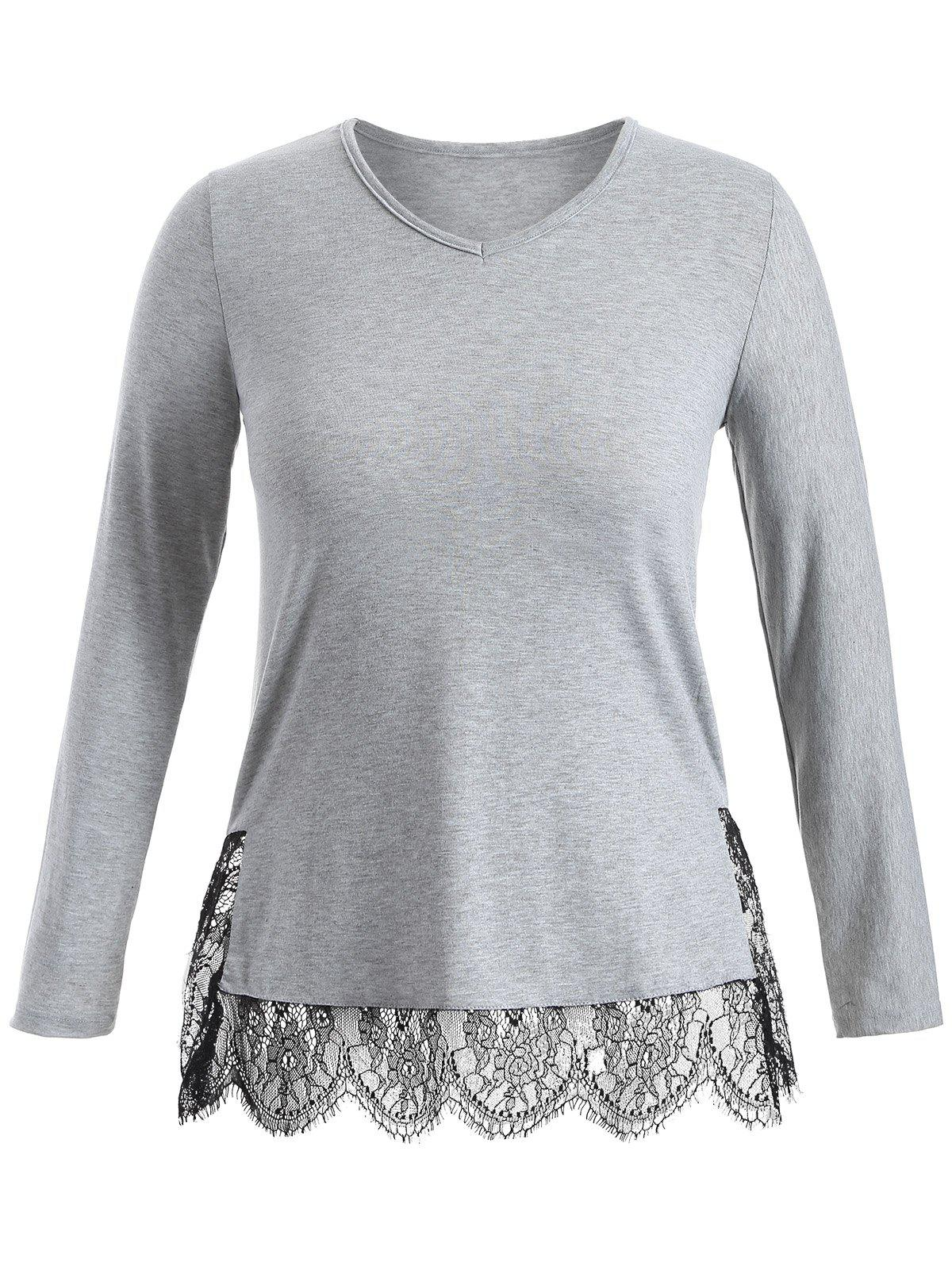 Long Sleeve Lace Panel Plus Size TeeWomen<br><br><br>Size: 3XL<br>Color: GRAY