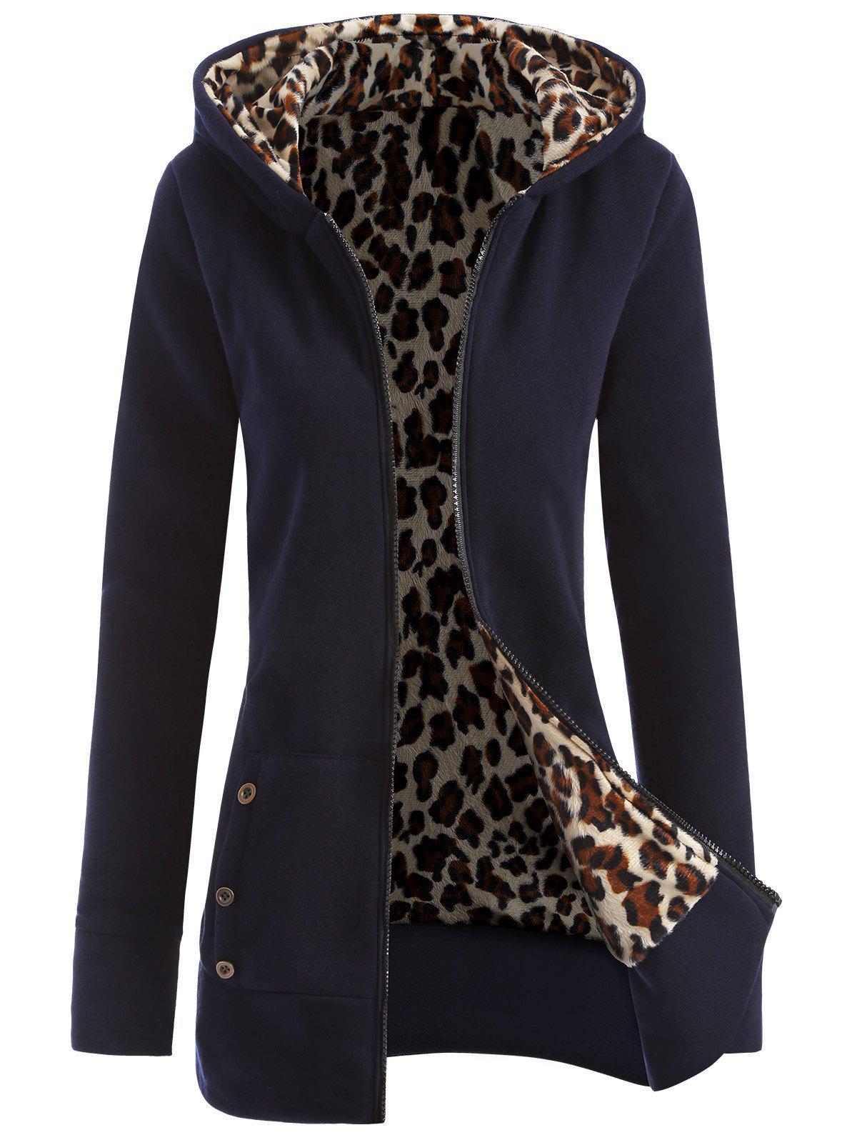Zipper Fly Thicken Leopard Pattern Hoodie - PURPLISH BLUE L