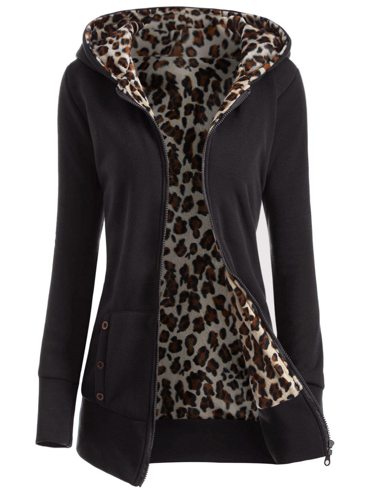 Zipper Fly Thicken Leopard Pattern Hoodie - BLACK 2XL