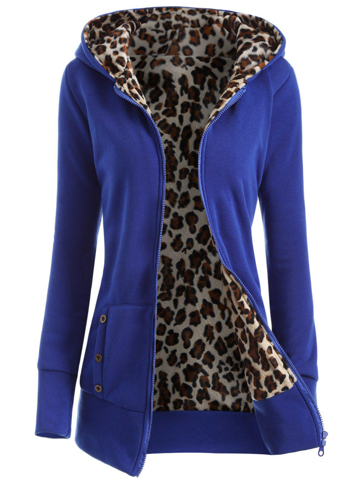Zipper Fly Thicken Leopard Pattern Hoodie - BLUE S