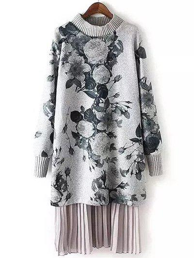 Long Sleeve Floral Print Layered Sweater Dress long sleeves layered swing sweater dress