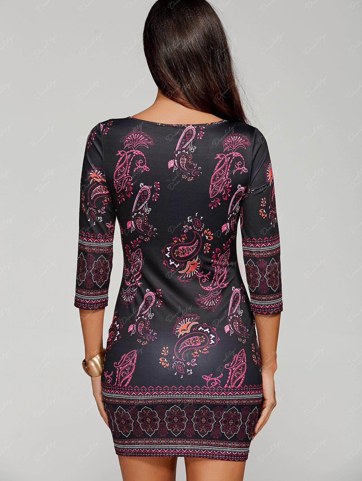 Paisley Keyhole Neck Mini Dress with Sleeves - BLACK M