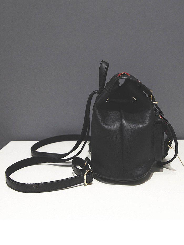 Buckles Criss-Cross Eyelet PU Leather Backpack - BLACK