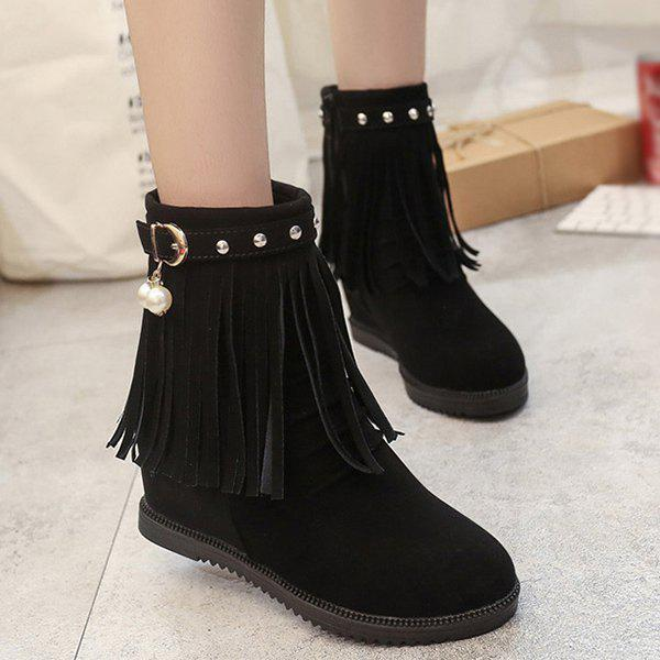 Ruched Rivet Fringe Hidden Wedge Boots - BLACK 37
