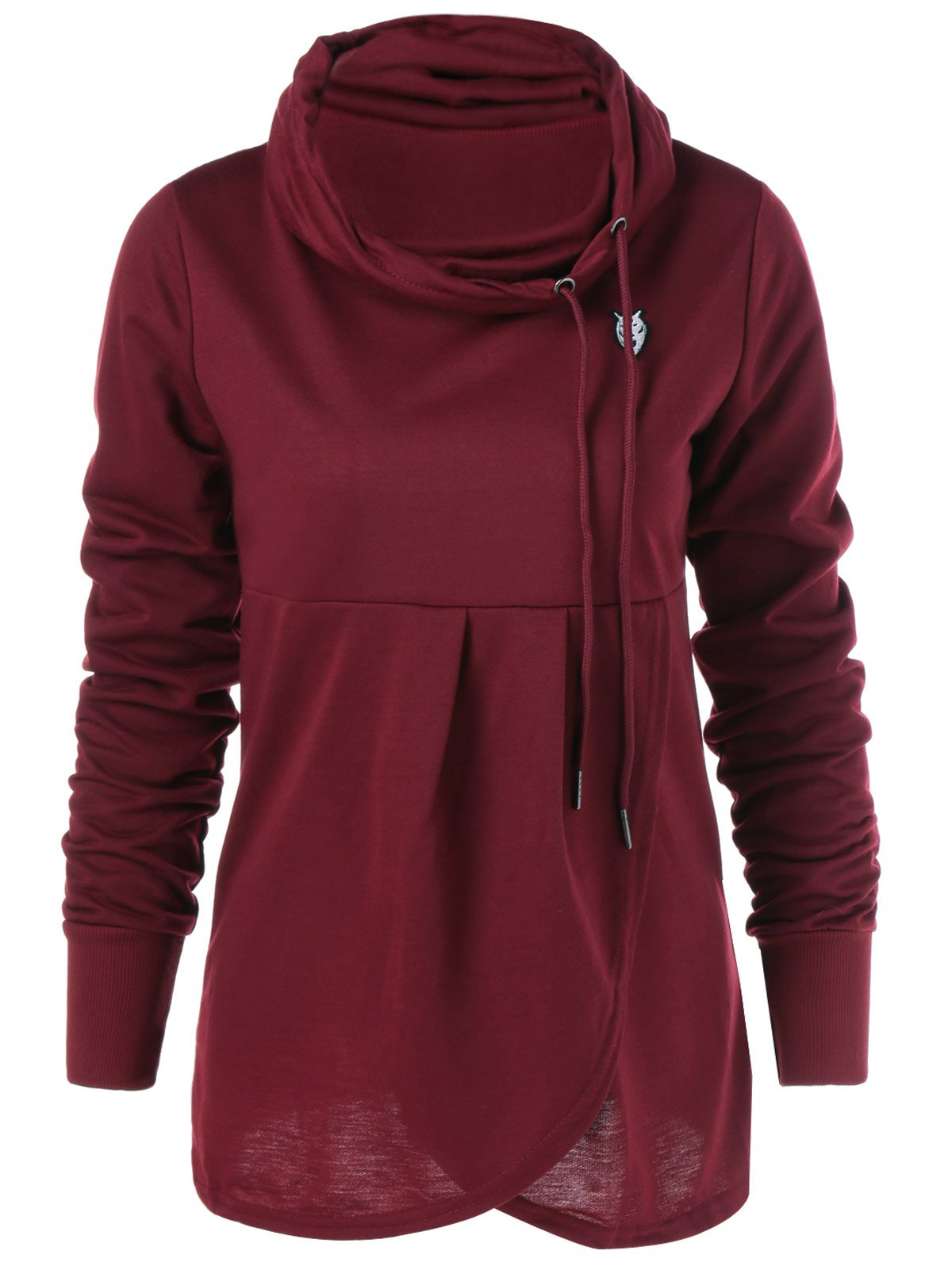 Cowl Collar Pullover Sweatshirt - WINE RED S