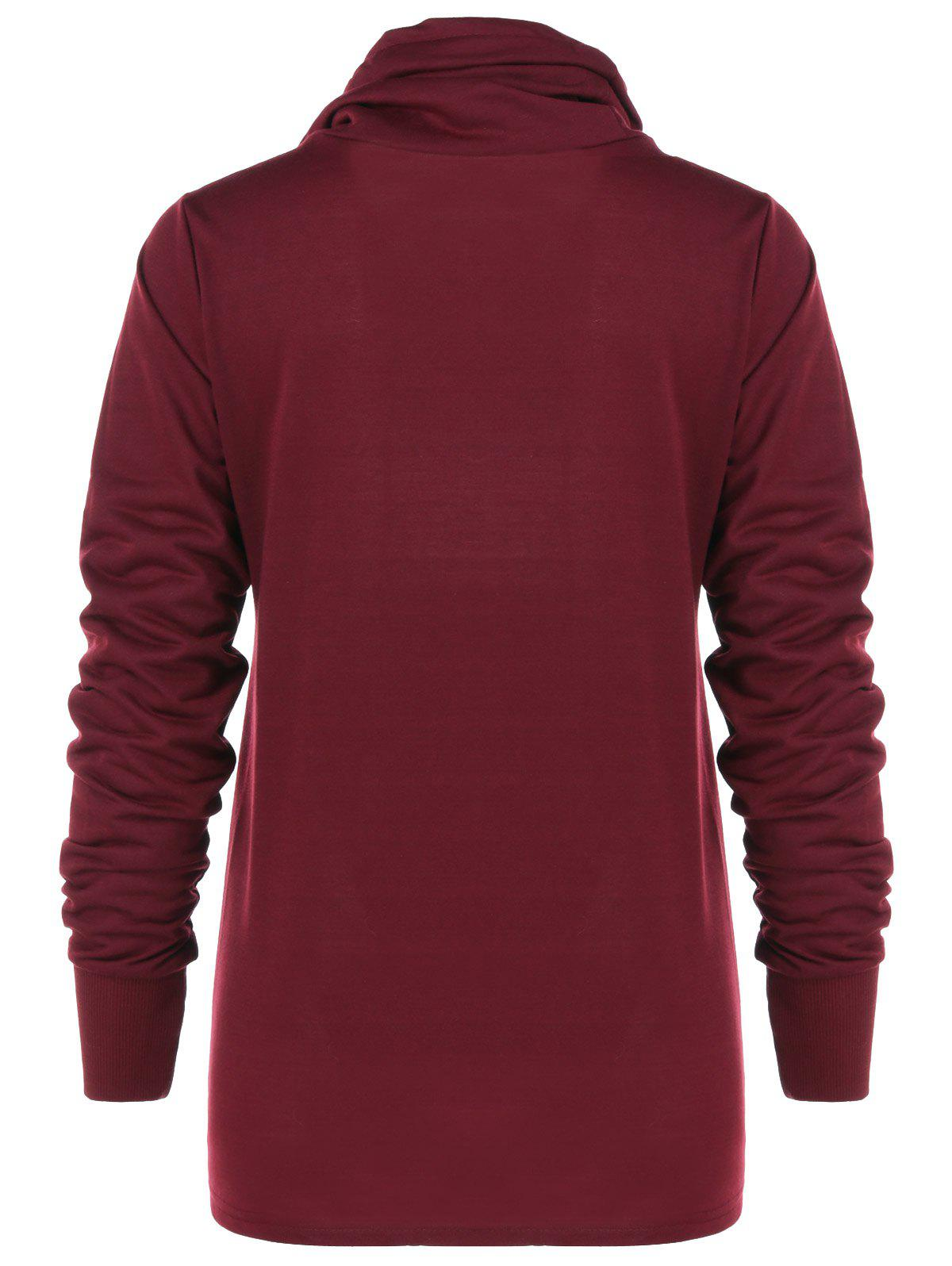 Cowl Collar Pullover Sweatshirt - WINE RED M