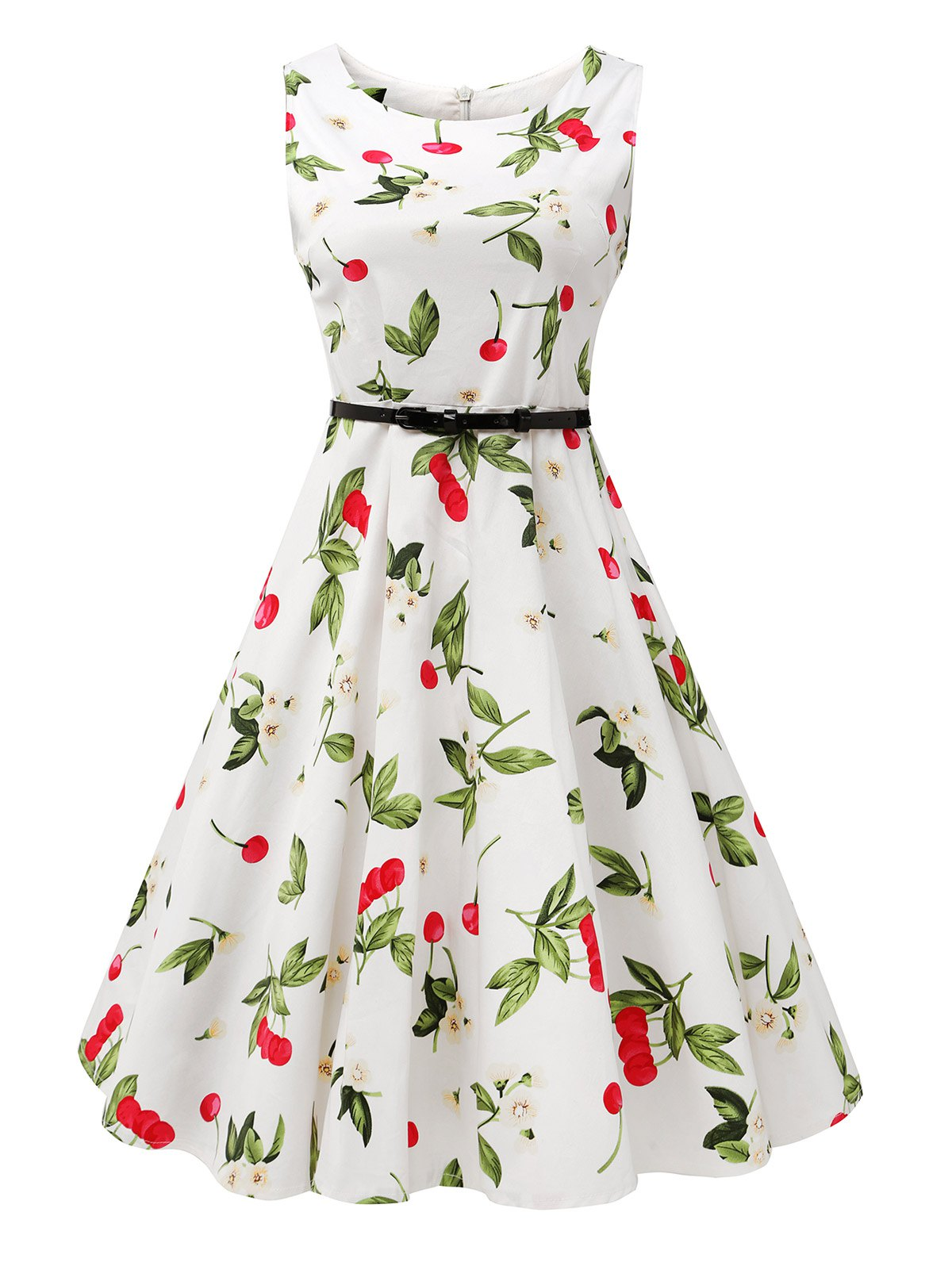 Sleeveless Cherry Print Belted Flare Dress - COLORMIX 2XL