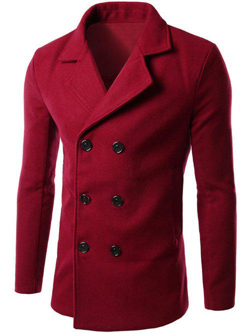 Lapel Collar Double Breasted Wool Blend Coat - RED 2XL