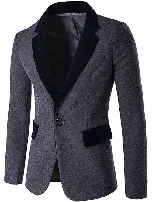 Single Breasted Lapel Color Block Wool Blend Blazer lapel flap pocket color block wool blend blazer