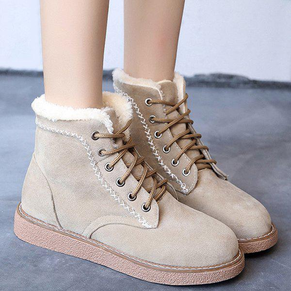 Criss-Cross Suede Lace-Up Snow Boots - APRICOT 38