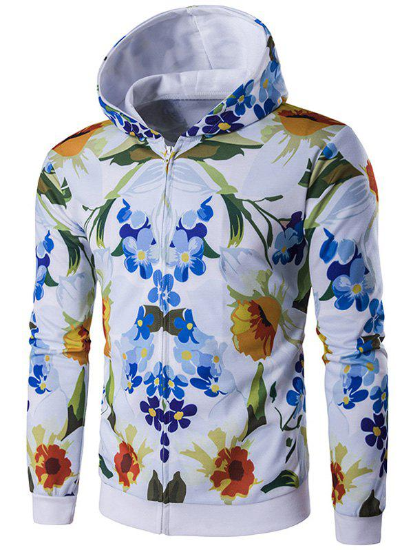 All-Over Floral Printed Zip-Up Hoodie zip up all over animal printed hooded jacket