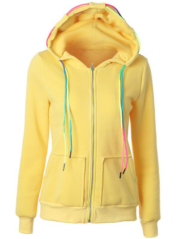 Drawstring Casual Zipper Up Hoodie - YELLOW XL