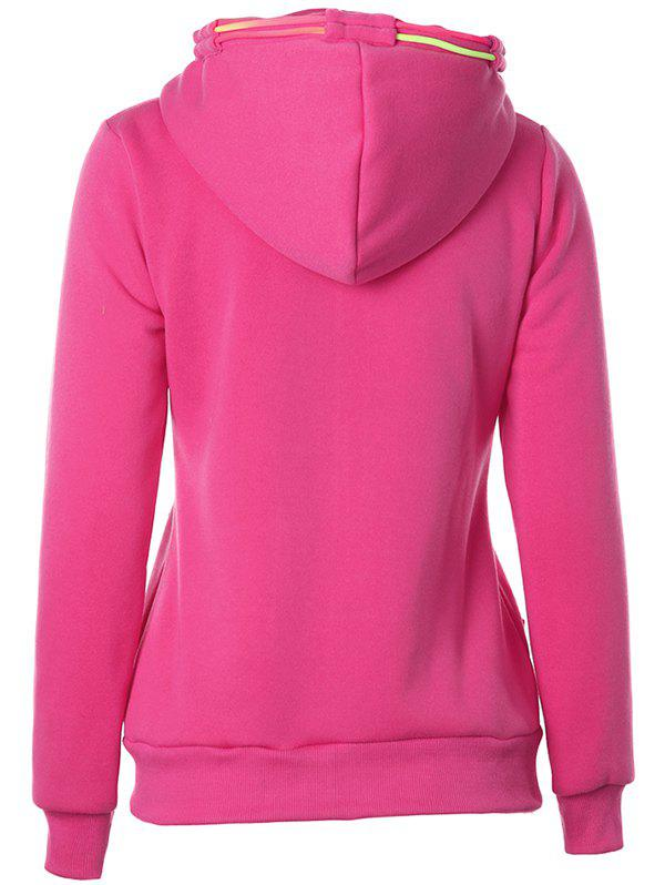 Drawstring Casual Zipper Up Hoodie - ROSE RED 2XL