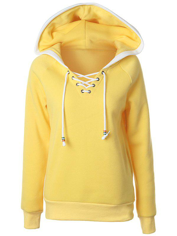 Casual Raglan Sleeve Lace Up Pullover Hoodie - YELLOW XL