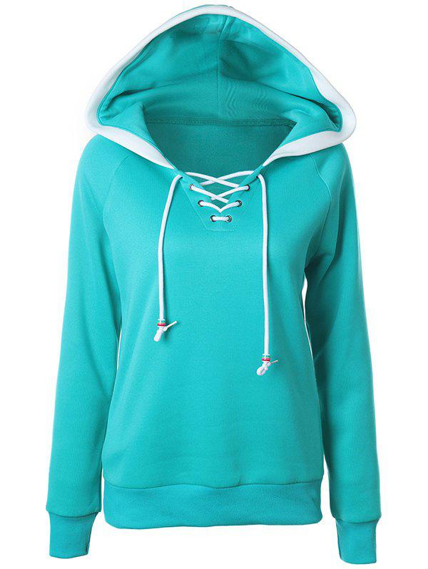 Casual Raglan Sleeve Lace Up Pullover Hoodie - GREEN L