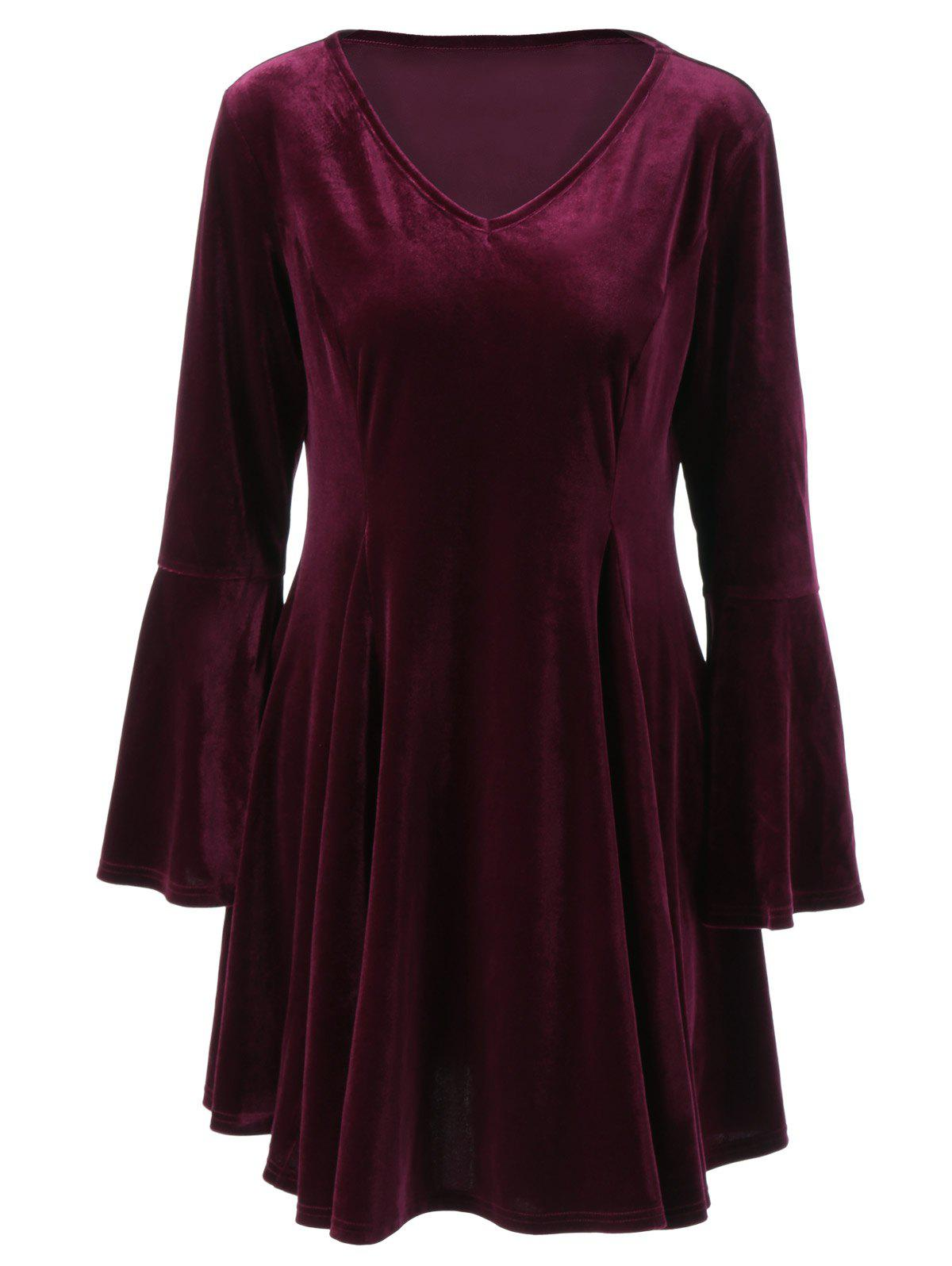 Flare Long Sleeve Velvet Skater Cocktail Dress - PURPLE RED XL