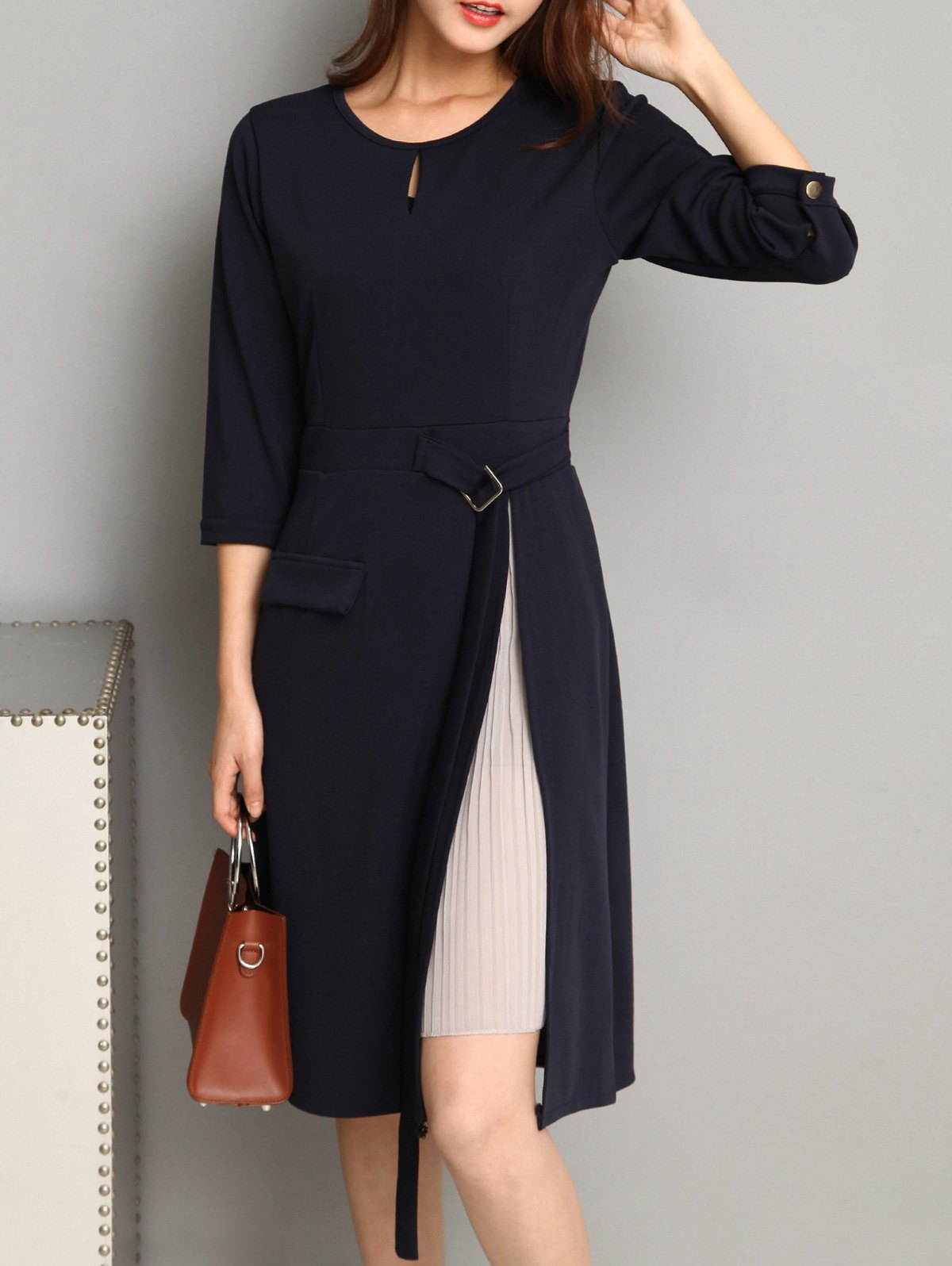 3/4 Sleeve Keyhole Pleated-Insert Dress exaggerate bell sleeve buttoned keyhole dress