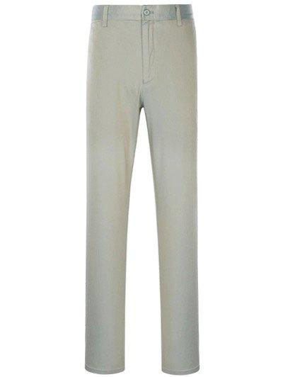 Slimming Simple Zipper Fly Straight Leg Pants, Gray