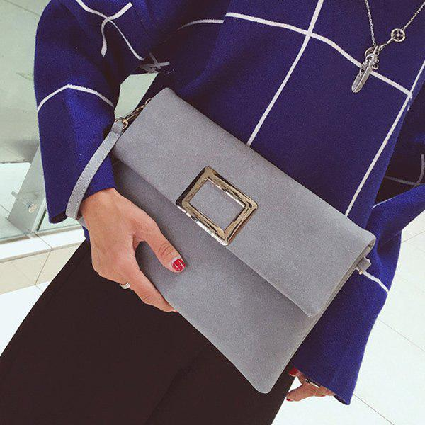 PU Leather Magnetic Closure Metal Clutch Bag - GRAY