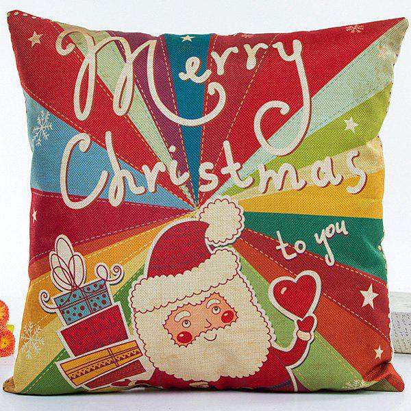 Decorative Colorful Santa Claus Soft Household Pillow Case colorful letters decorative super soft household pillow case