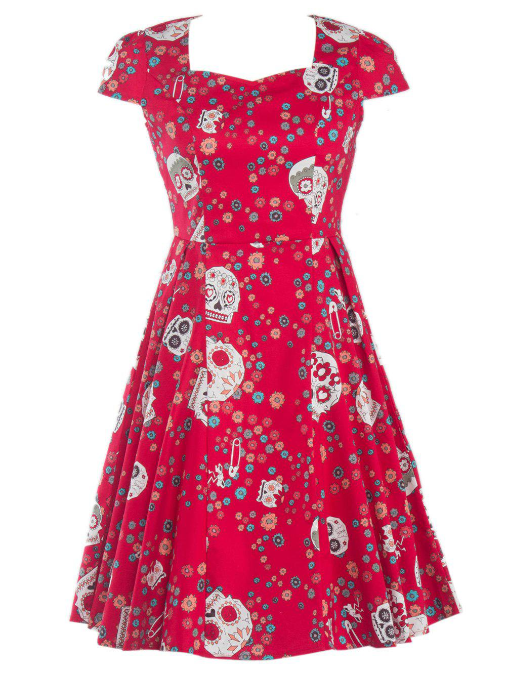 Skull Splicing Floral Print Dress - Rouge 2XL