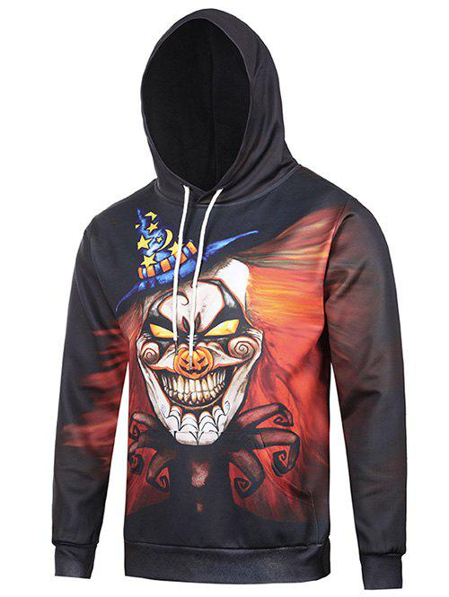 Hooded 3D Clown Star Moon Print Halloween HoodieMen<br><br><br>Size: M<br>Color: BLACK