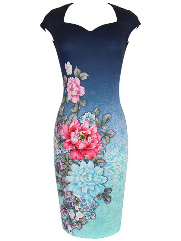 Sheath Flower Print Vintage DressWomen<br><br><br>Size: S<br>Color: BLUE