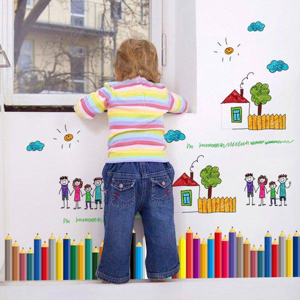 Cartoon Colorful Pencil Mouldproof Kids Room Decor Wall StickersHome<br><br><br>Color: COLORFUL