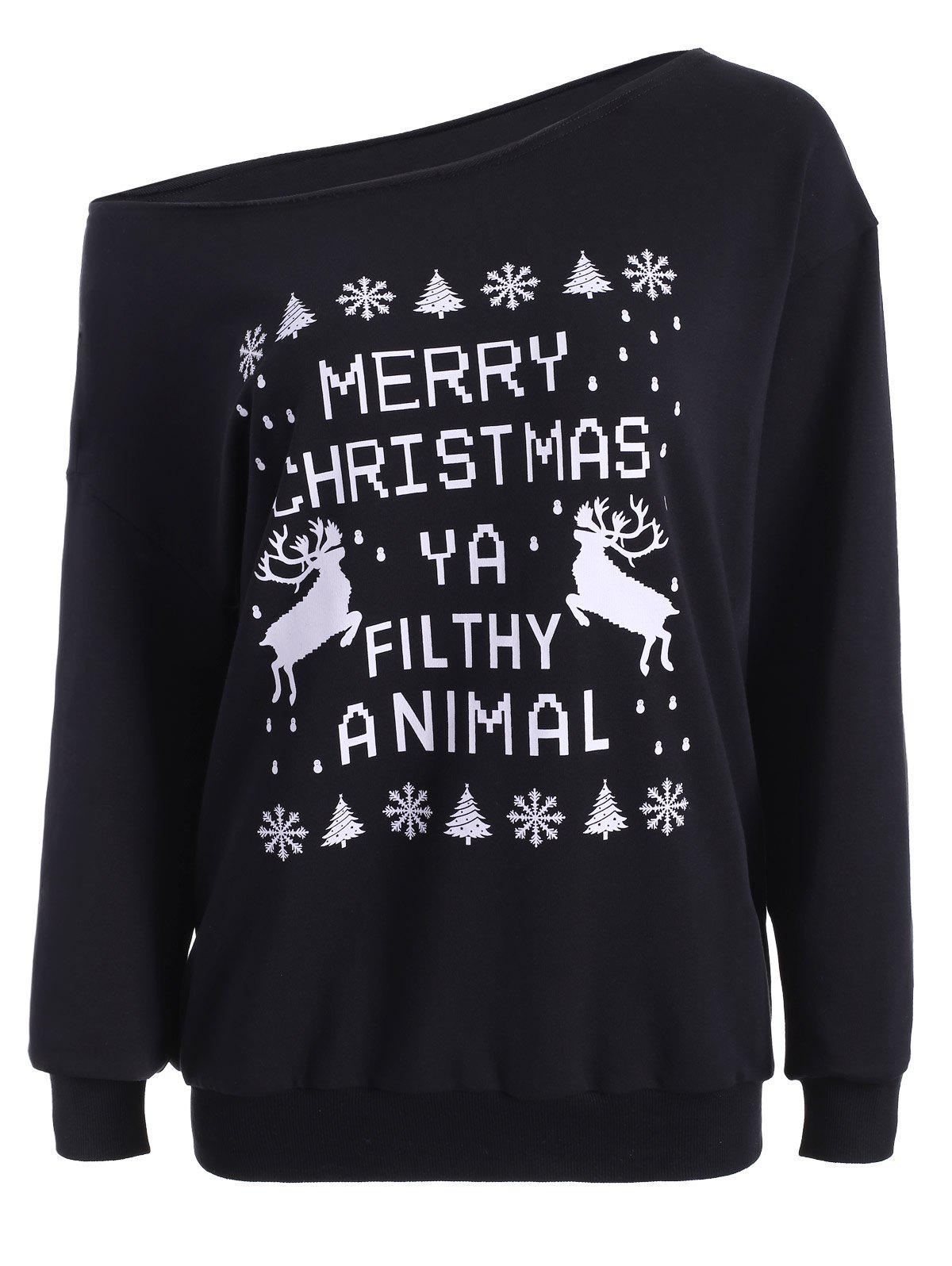 Skew Neck Christmas Pullover Sweatshirt - BLACK L