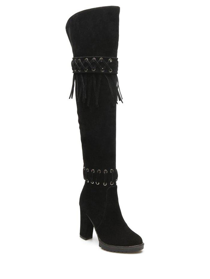 Criss-Cross Chunky Heel Fringe Thigh Boots - BLACK 39