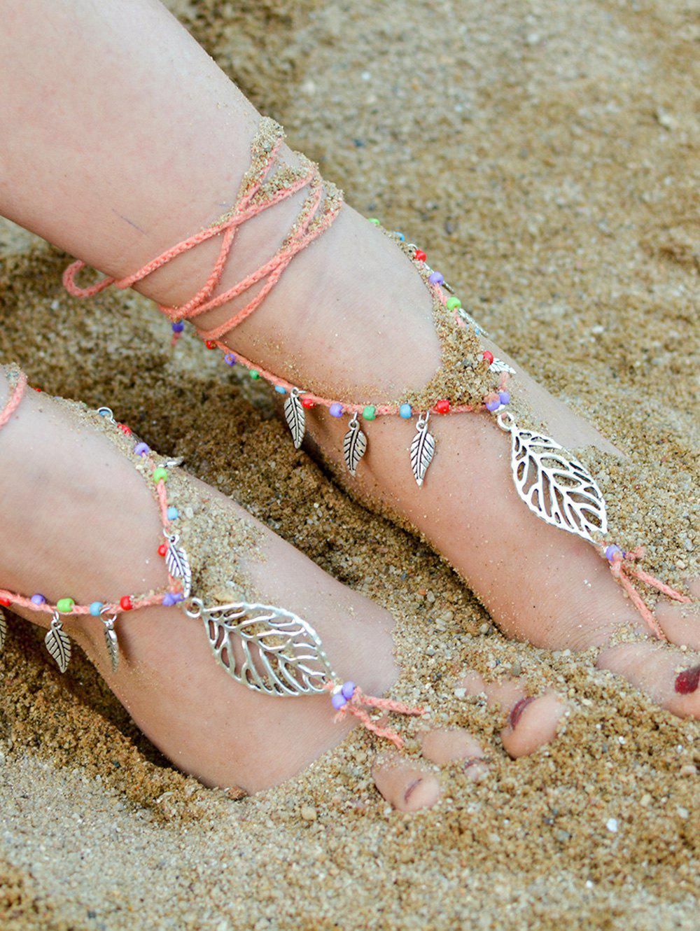 Handmade Leaf Beaded Layered Toe Girl Hippie Anklet - ORANGEPINK