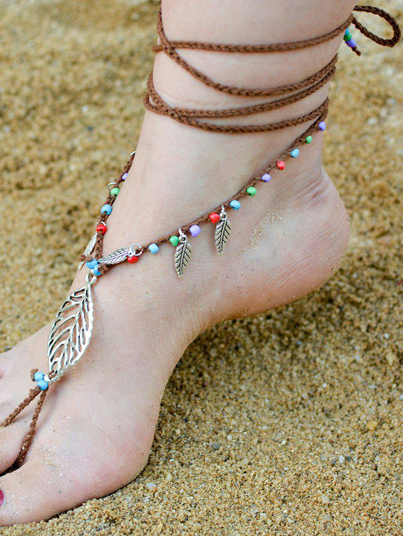 Handmade Feuille perlé Layered Toe Anklet - Brun Doré