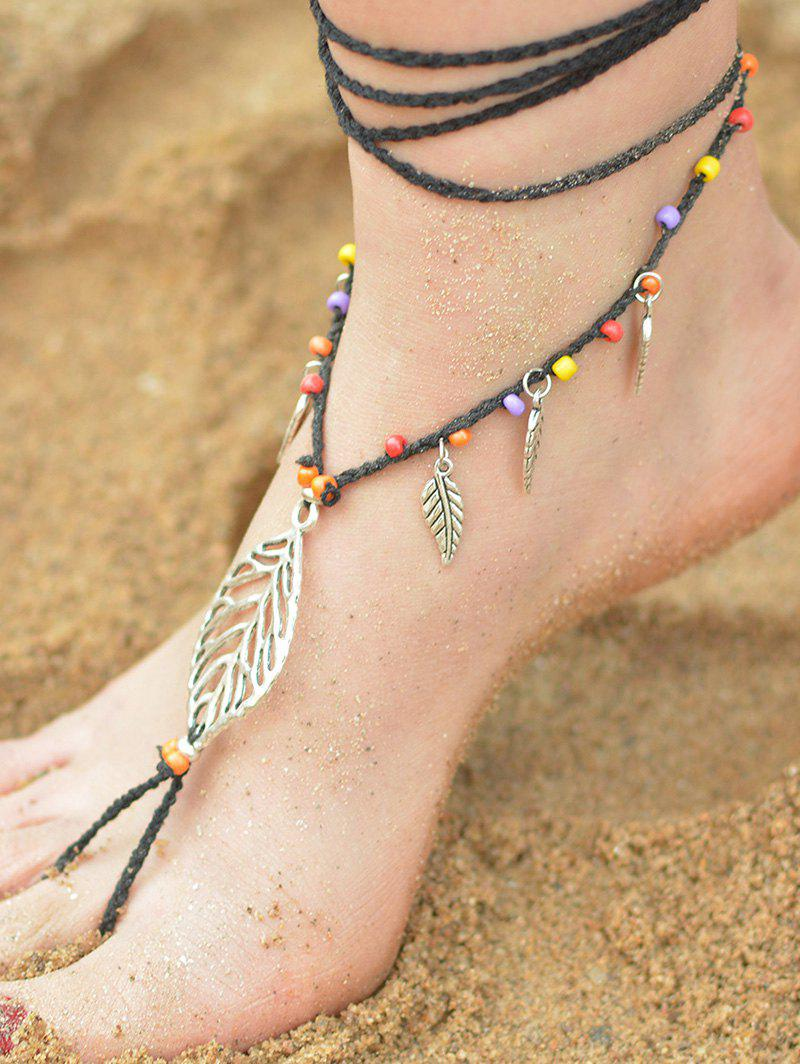 Handmade Leaf Beaded Layered Toe Girl Hippie Anklet - BLACK