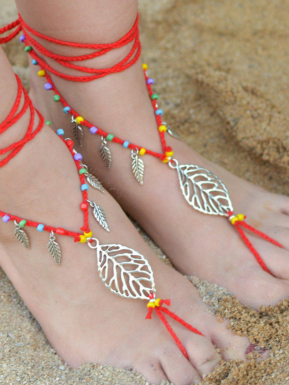 Handmade Feuille perlé Layered Toe Anklet - Rouge