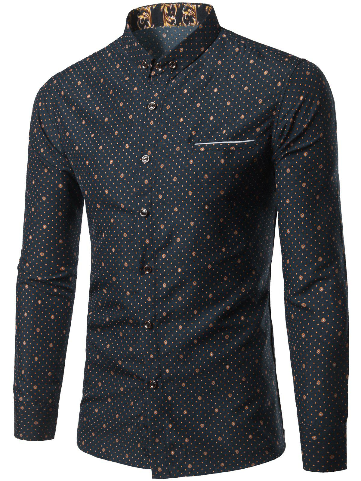 Small Polka Dot Printed Long Sleeve Shirt - CADETBLUE M