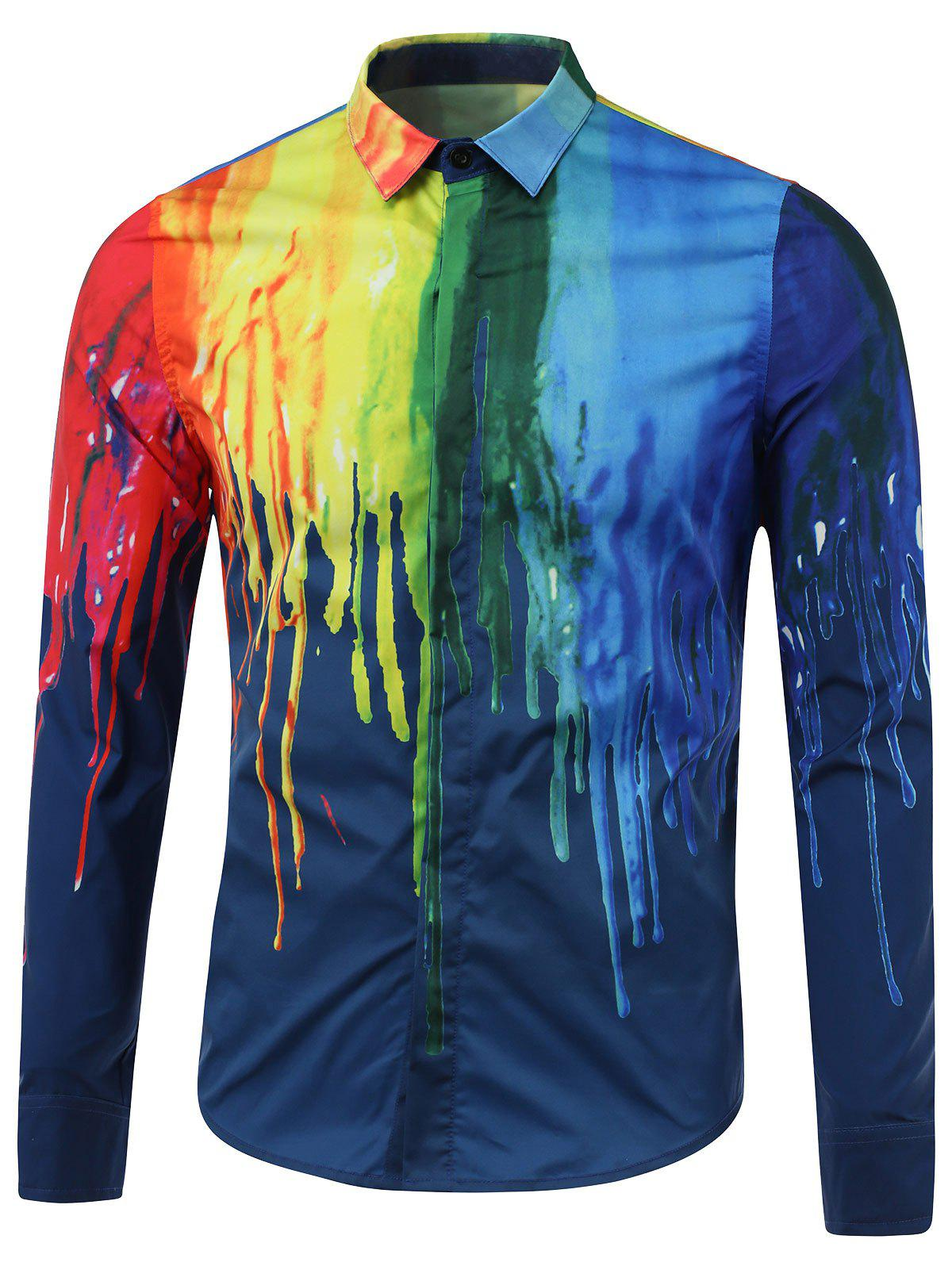 Covered Button Front Colorful Paint Dripping Print Shirt - BLUE 2XL