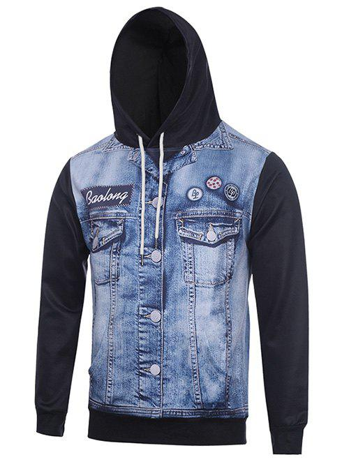 Hooded 3D Faux Denim Jacket Print Hoodie - Noir XL