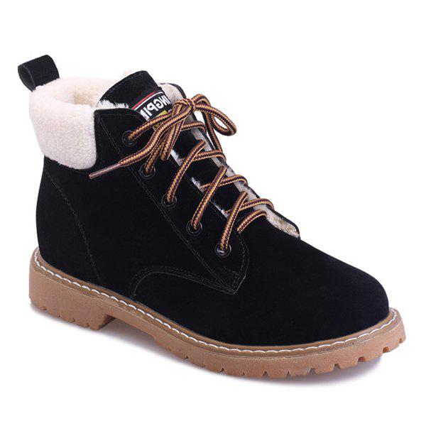 Faux Shearling Lace-Up Suede Short Boots - BLACK 37
