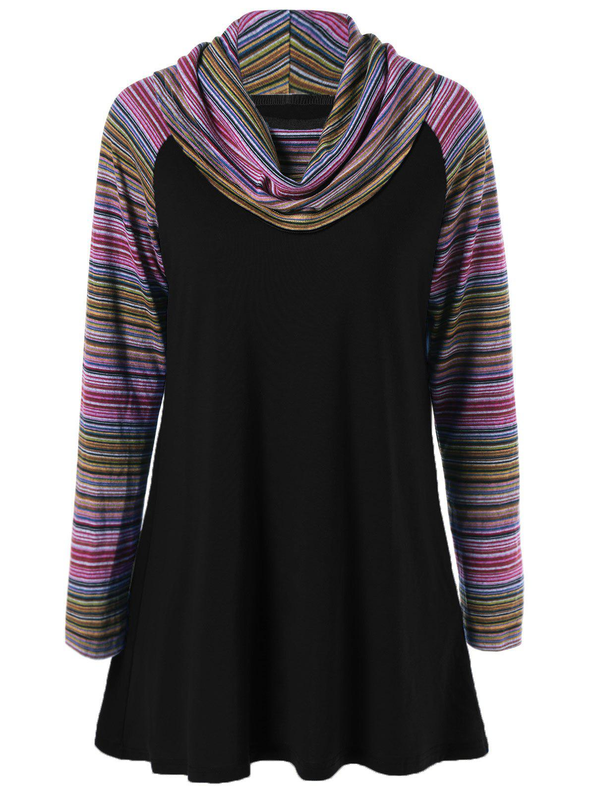 Cowl Neck Colorful Striped T-Shirt - BLACK M