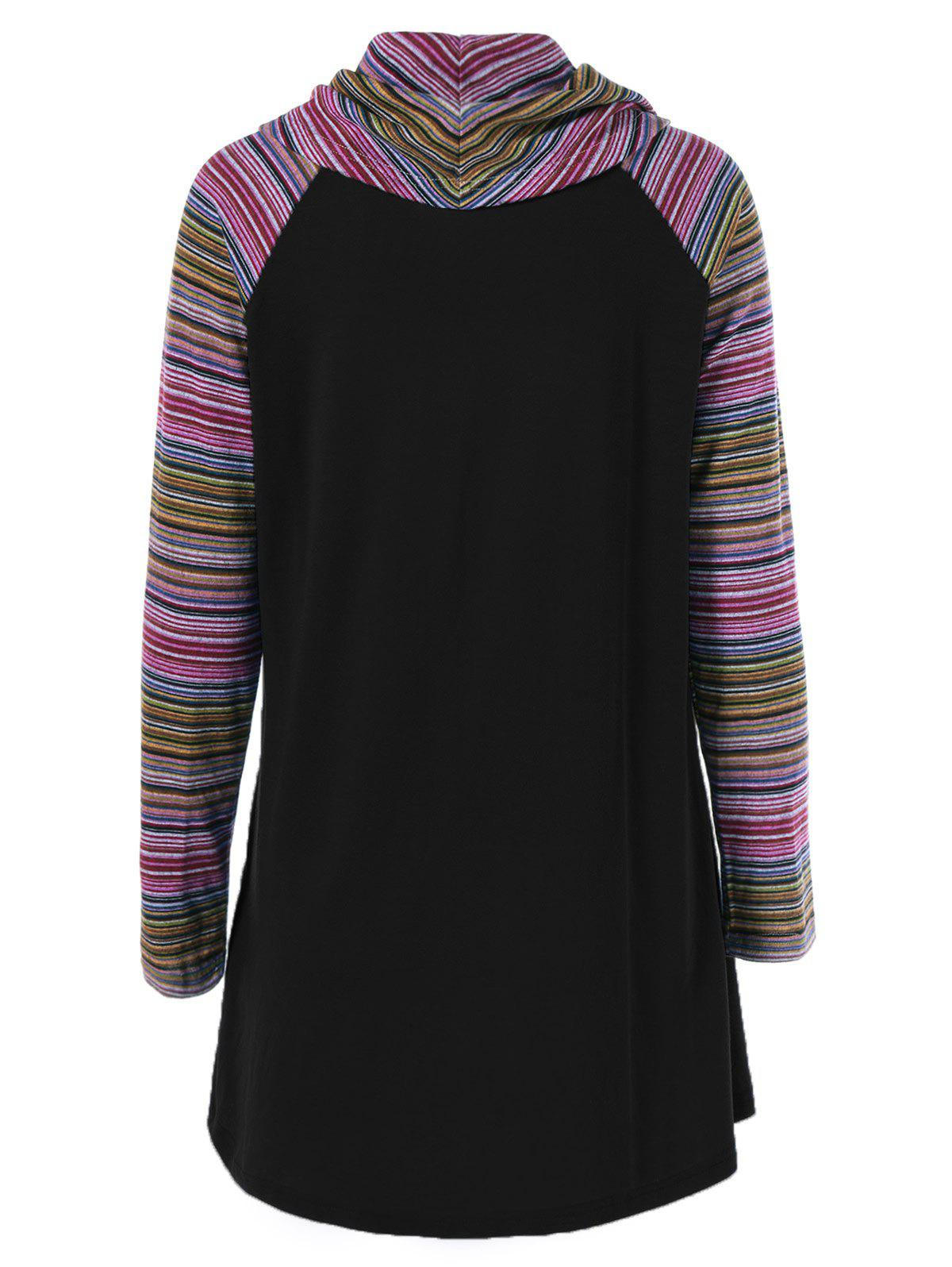 Cowl Neck Colorful Striped T-Shirt - BLACK XL